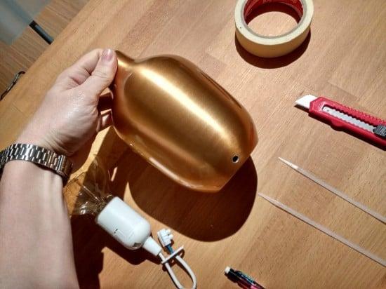 hack vase into copper bedside lamp