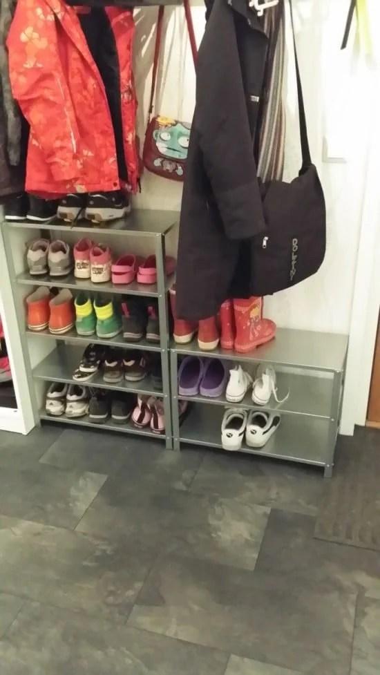 HYLLIS shelving became shoe rack