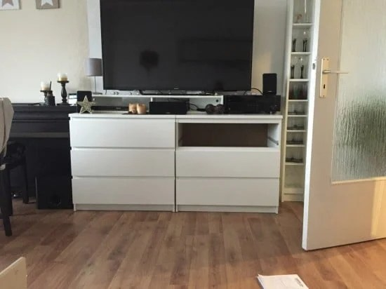 two ikea malm chests as a tv highboard ikea hackers. Black Bedroom Furniture Sets. Home Design Ideas