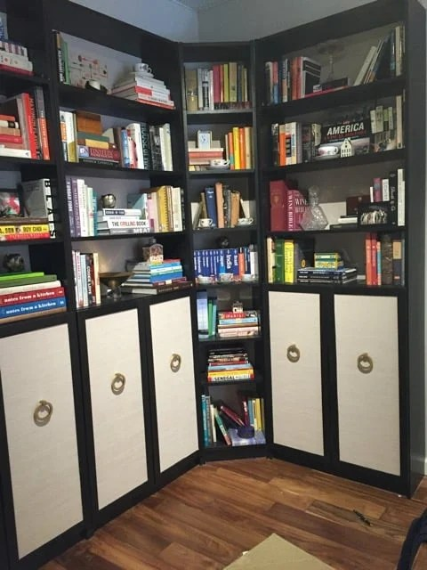 BILLY bookcase wallpapered