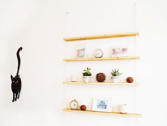 A hanging rope shelf from IKEA IVAR shelves