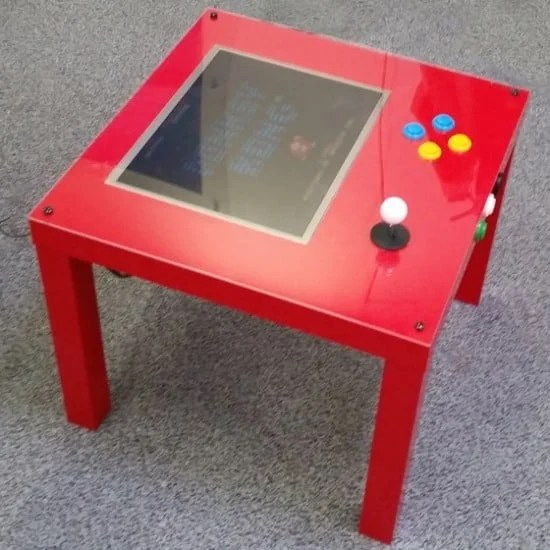 Raspberry Pi retro gaming table built from IKEA furniture