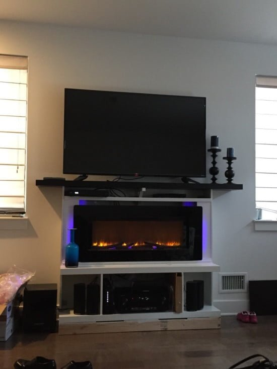 Custom built-in fireplace surround with mantel