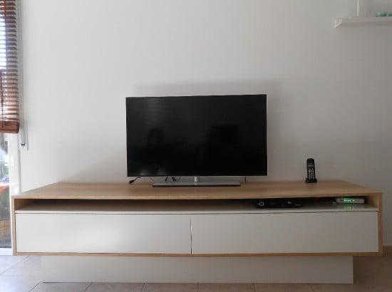 IKEA FRIEL TV unit hacked into sleek oak unit