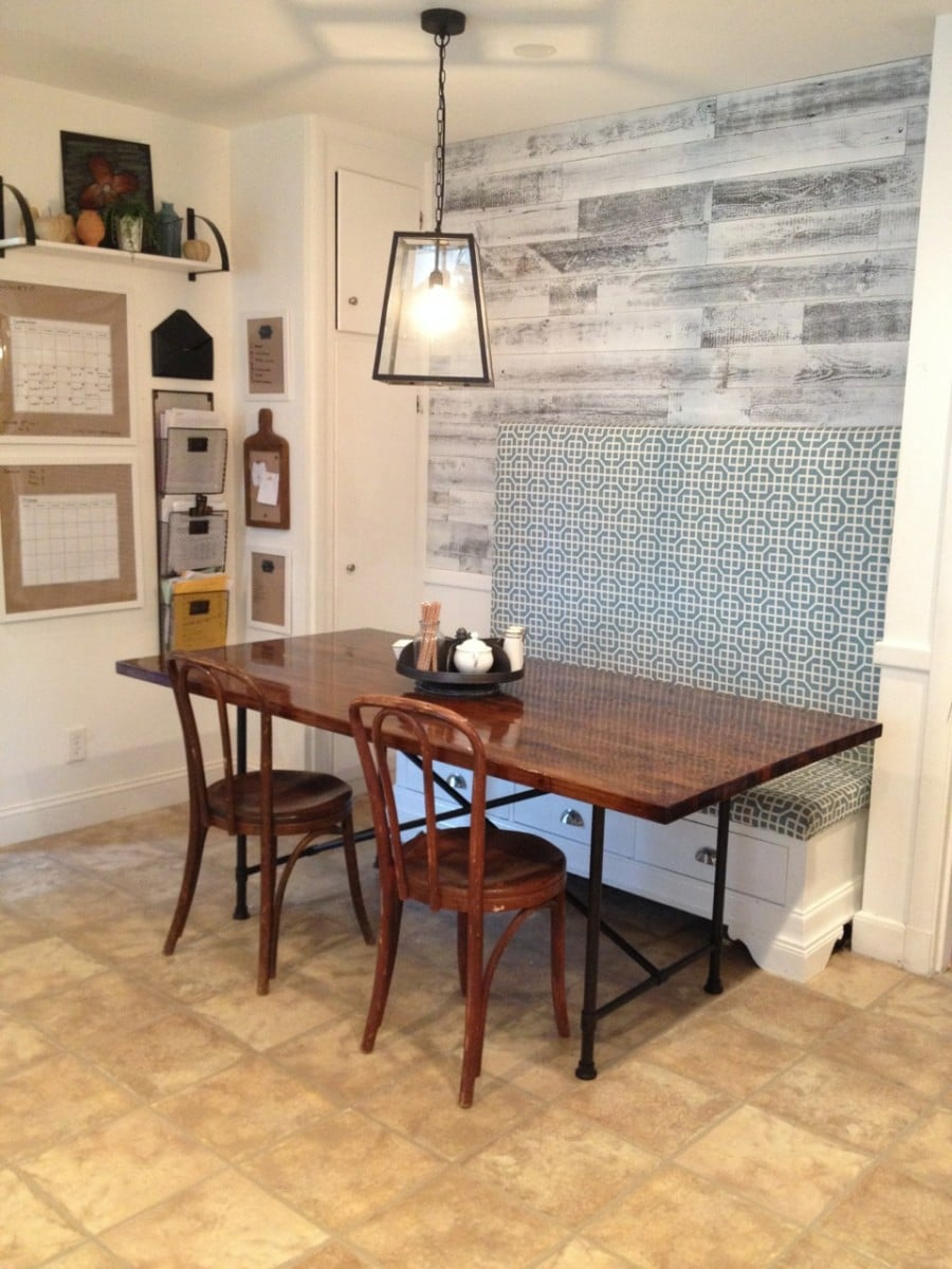 Rustic Industrial Butcher Block Table With Metal Base