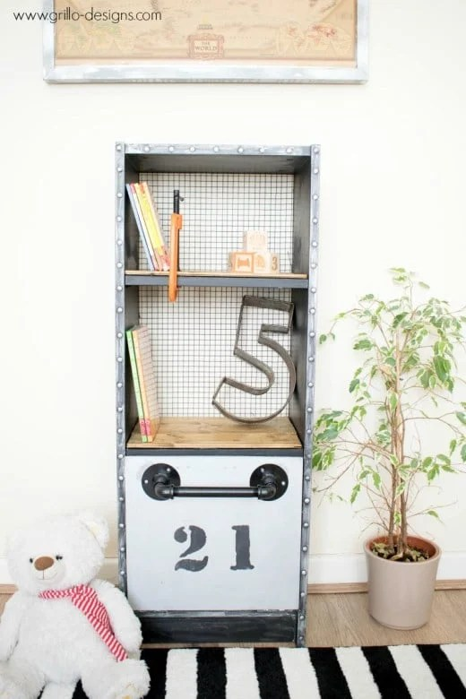 Industrial Billy Bookcase With Hidden Murphy Bed For Teddy