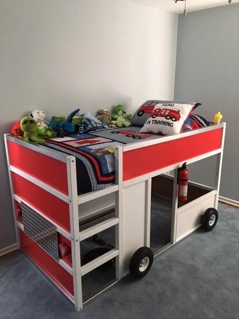 Fdny Fire Truck Bunk Bed From Ikea Kura Ikea Hackers