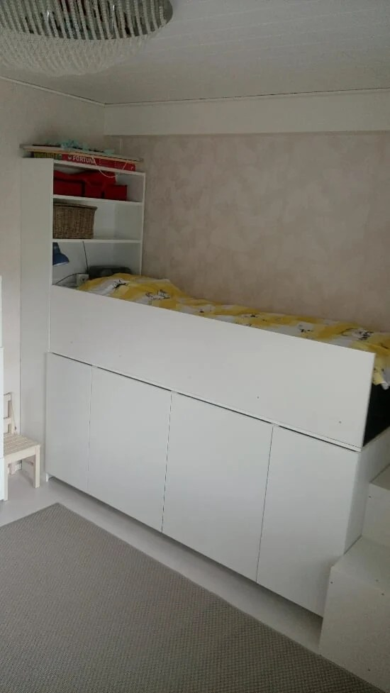 2 ways to hack a kid 39 s storage bed ikea hackers for Ikea cabinet bed hack