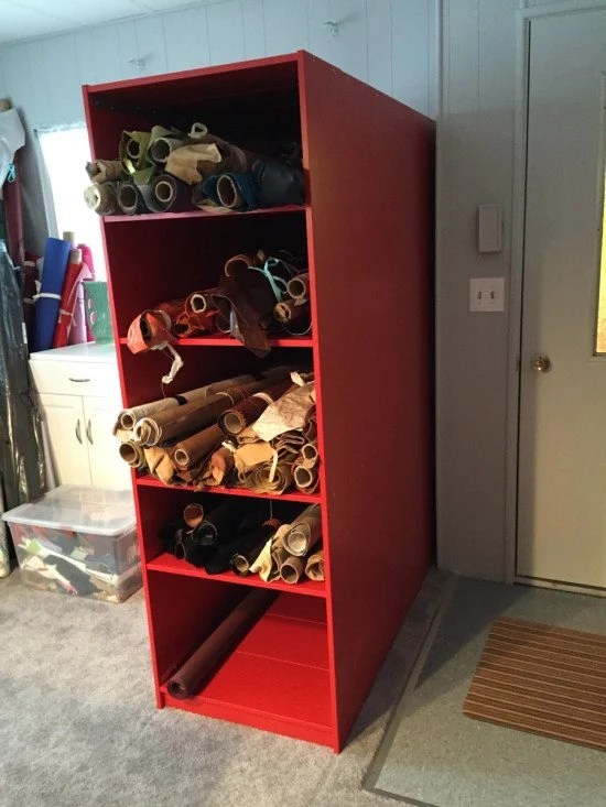 Rolled textile storage from 6 FINNBY bookcases