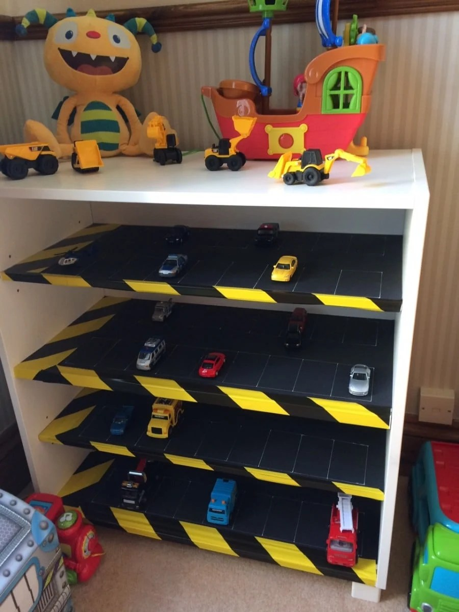 Toy Car Shelves : Kids toy car park storage shelves ikea hackers