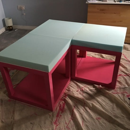 Lack Tables Hacked Into Corner Couch Under Loft Bed Ikea
