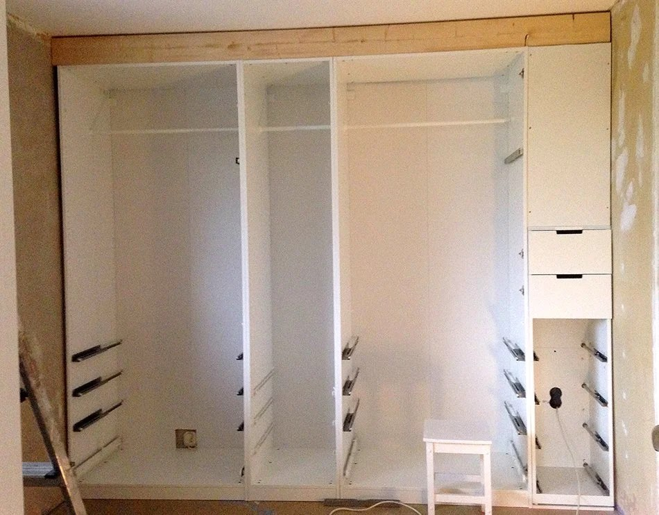 Built In Pax Wardrobe And Nightstand Ikea Hackers