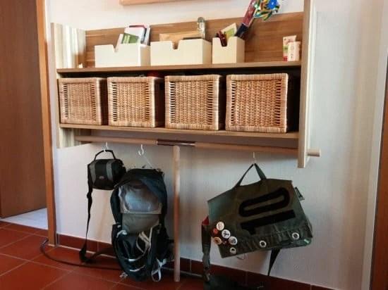 Upgraded IKEA SKOGSTA Wall Shelf with bag hangers