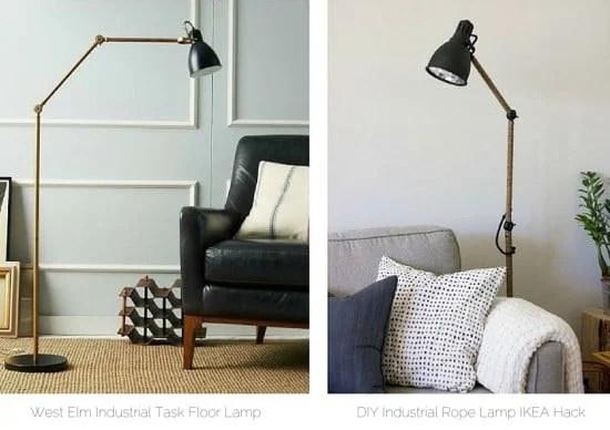 DIY West-Elm inspired industrial task floor lamp IKEA AROD hack