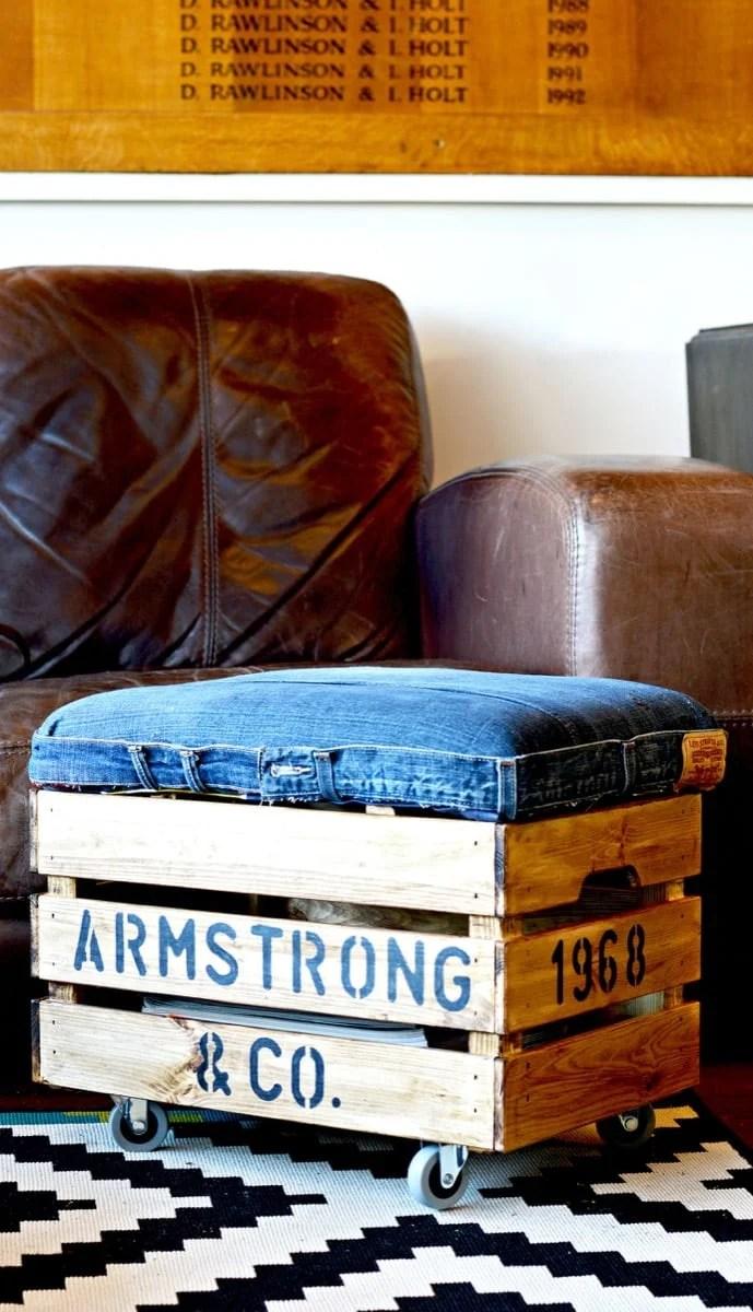 Nifty rustic denim ottoman with handy storage ikea hackers - Ikea hack storage ottoman ...