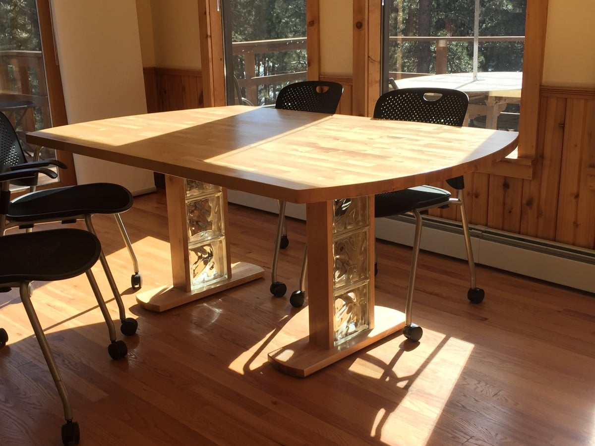 Birch dining table from hammarp countertop ikea hackers this table started as 2 hammarp countertops workwithnaturefo