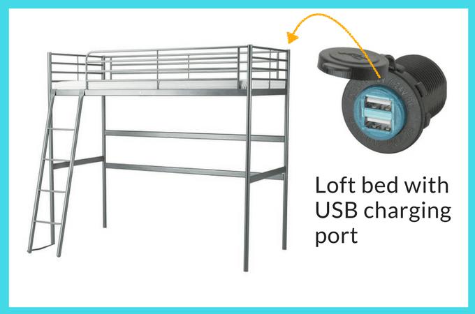 Luxury IKEA SV RTA Loft bed with USB charging port