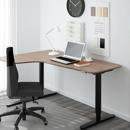Elegant bekant corner desk left sit stand gray