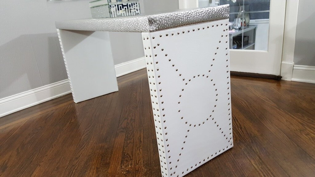 Nailhead Console Table   IKEA LACK Entryway Table Luxe Upgrade