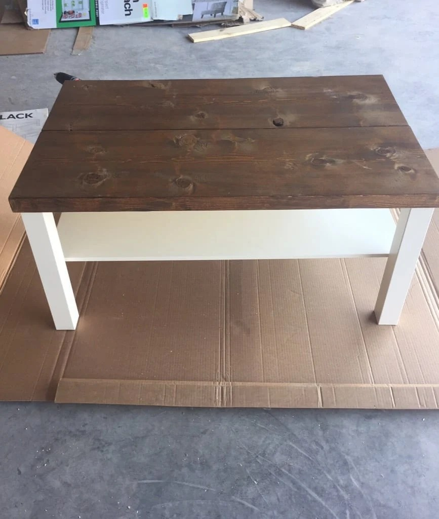 hackin 39 the lack into a rustic coffee table ikea hackers. Black Bedroom Furniture Sets. Home Design Ideas