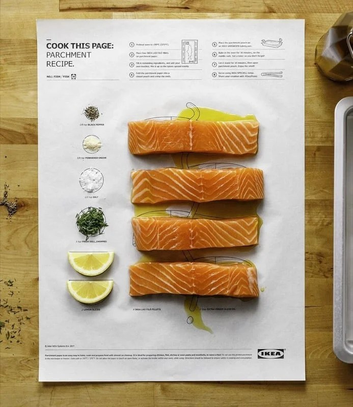 Cook this page IKEA parchment paper with ingredients
