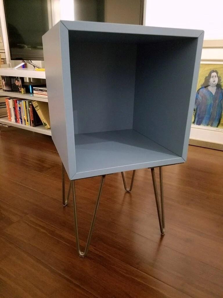Turn The Eket Cube Into A Hairpin Leg Nightstand Ikea Hackers