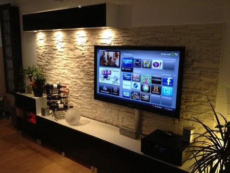 BESTÅ Media Center with stone wall panel. Papa was a BESTA stone hack