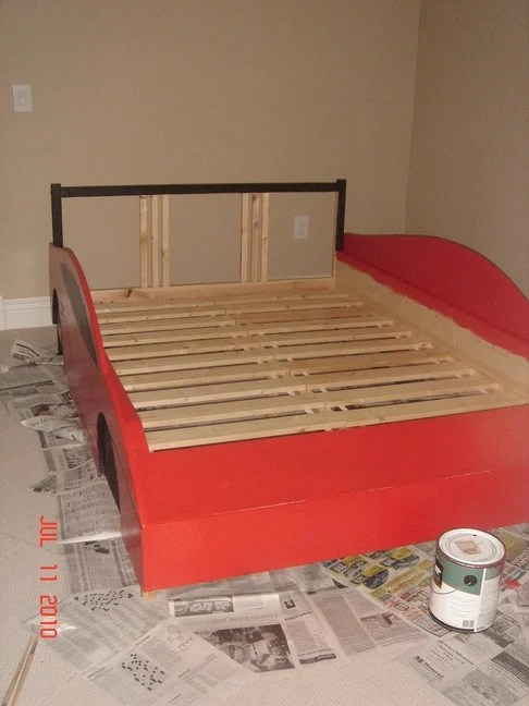 Great We then cut pieces of birch plywood to match the template Bolted everything to each side of the assembled bed frame