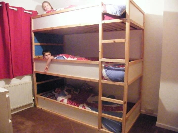 Space saving kids triple decker beds - IKEA Hackers