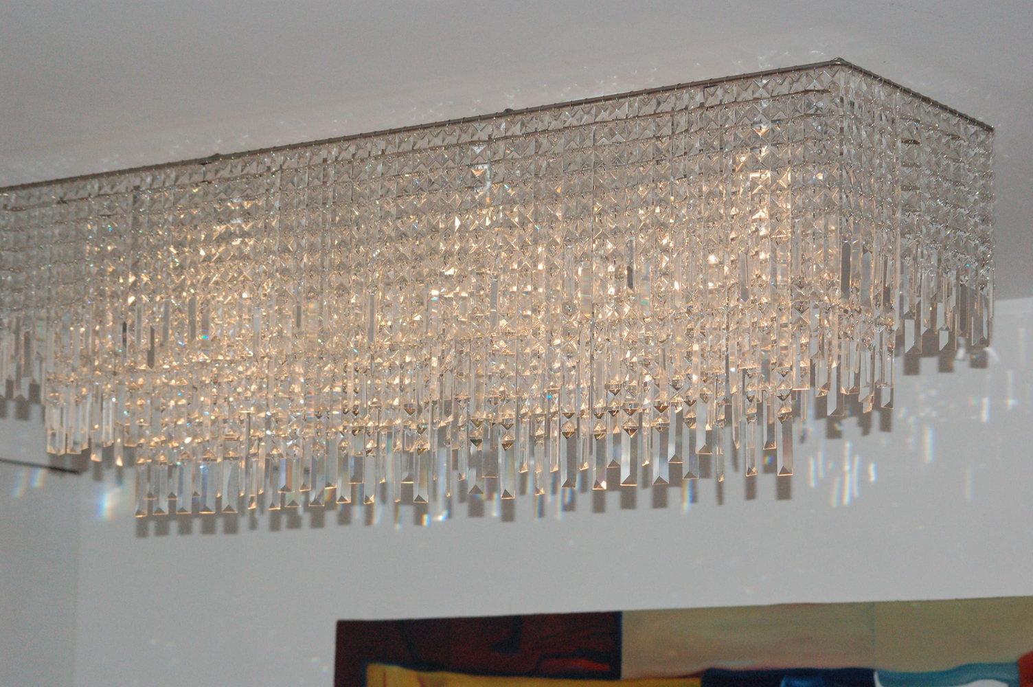 Materials: 35 little Ikea Chandeliers + LEDING lamp - Unique Chandeliers - IKEA Hackers