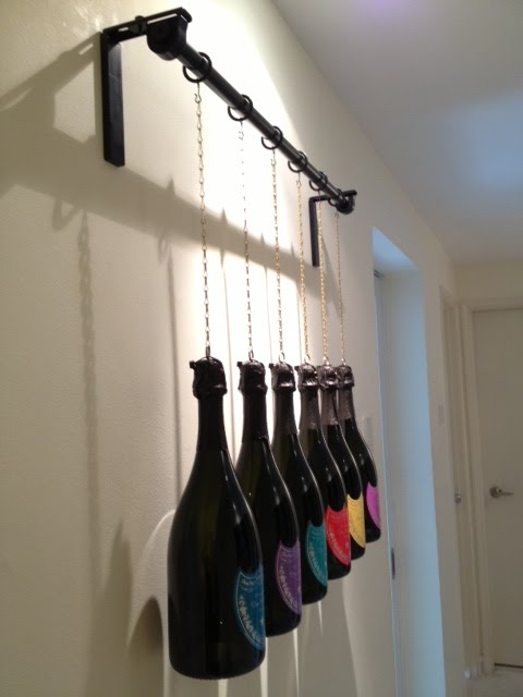 Stunning  Attaching Champagne Dummy Bottles to R CKA Curtain Rod u Affix one end of the Copper Chain to petit key ring affix on the Champagne Dummy Bottle