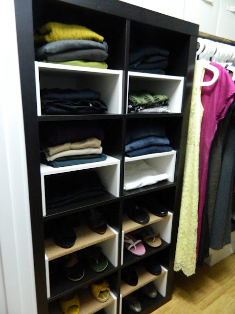 Expedit In The Closet With Half Shelf Inserts Ikea Hackers