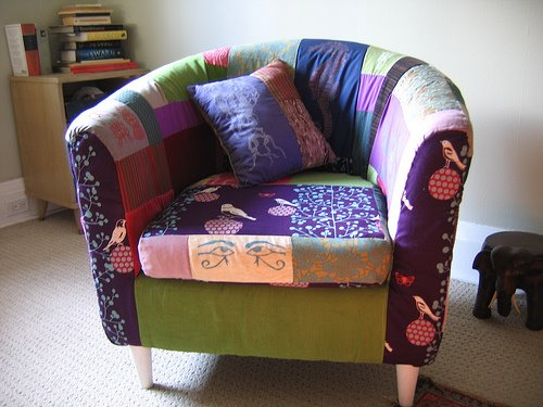 See More Pictures Of Her Patchwork Armchair.