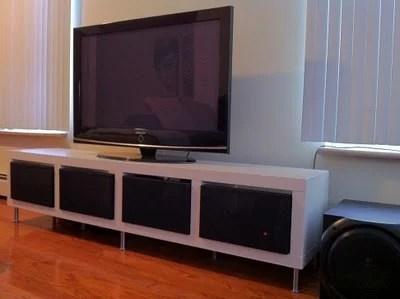 clean and minimalist TV stand IKEA hack