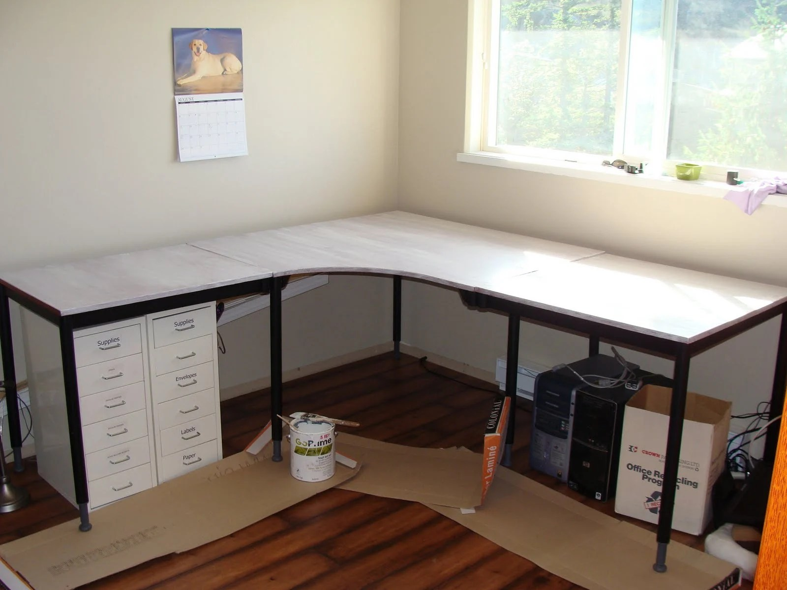 Trend  the back corner with some braces I fashioned from metal plates and banister inserts from Home Depot It is solid u The Desk Top just rests on the