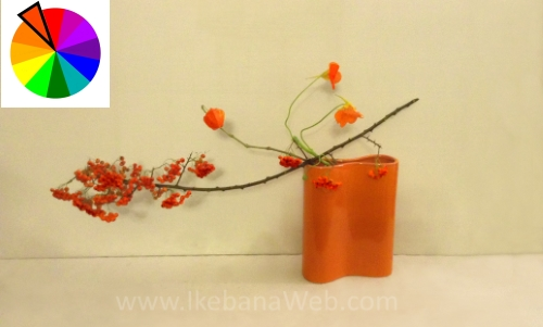 Orange automn Ikebana arrangement by Ekaterina Seehaus