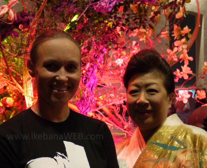 Akane Teshigahara and Ekaterina Seehaus after the ikebana performance at Ghent Floralien, April 2016