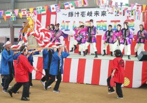 兵庫県朝来市「よさこい」メンバーの元気な踊り