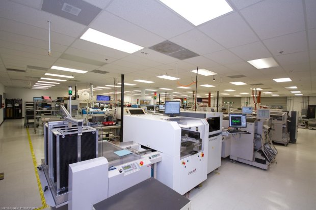 Electronics assembly line floor