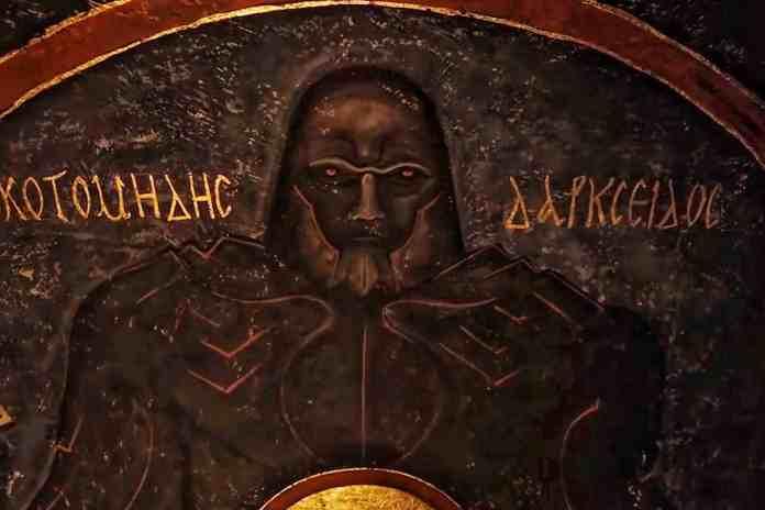 Mural of Uxas ( Darkseid) in cave
