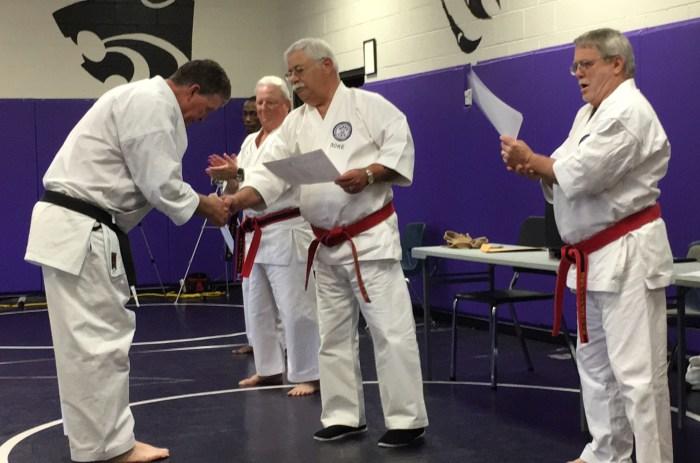Sensei Jim McCarthy receiving his Nidan Menjo