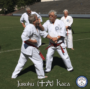 Soke Ruiz teaching Juroku Bunkai. Shown here delivering a Taisho Strike to Hanshi Downton's jaw.