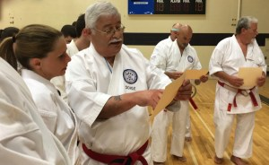 Soke Ruiz discussing the finer points of Kotosu-Ha Kobudo Lineage with Renshi Sensei Barbara Hughes