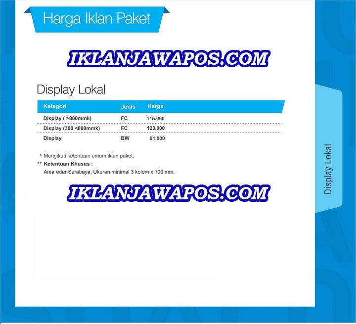 iklan jawa pos paket display lokal surabaya