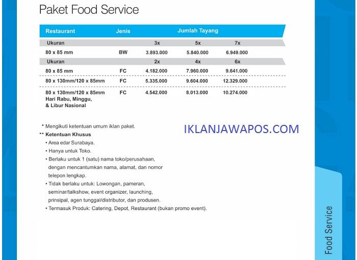 iklan jawa pos paket food service