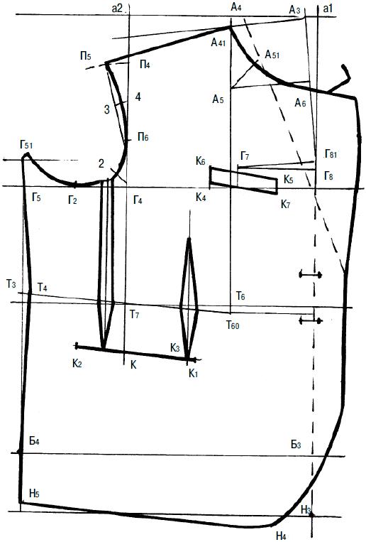 2af5e2ccb67 Из точки Г 7 провести горизонталь вправо на пересечение с линией  полузаноса. Поставить точку Г 8 .