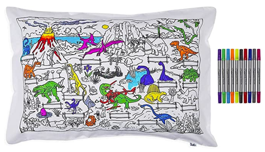 Color Your Own Doodle Pillowcase with Fun, Educational Dinosaur Scene