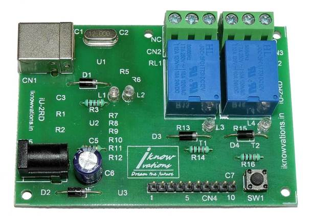 2-channel-usb-relay-board-iU 2RD-10 from iknowvations