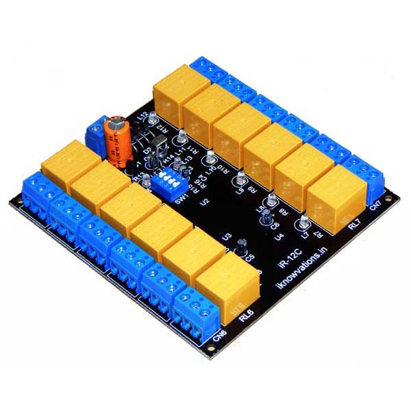 12 channel ir remote control relay board ir-12c from iknowvations.in