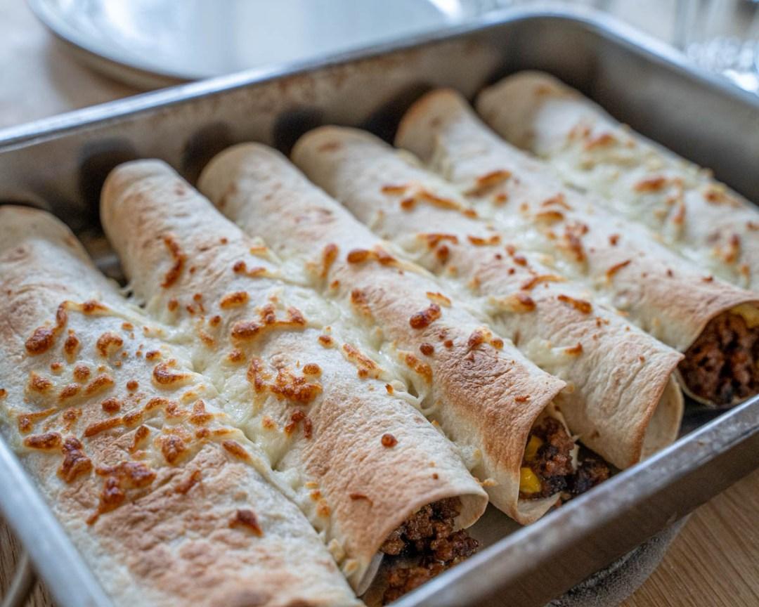 gratinerade vegetariska burritos
